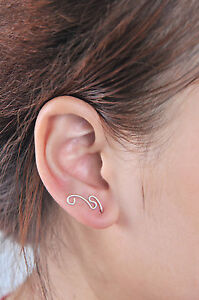 Details About Sterling Silver Ear Crawler Earrings Crawlers Climber Sweep Up Handmade