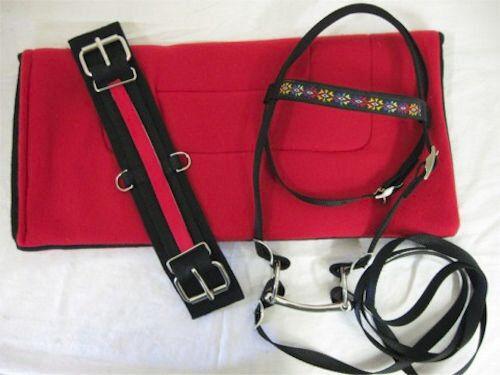 Pony Brida personalizado, almohadilla, cintas de cierre en silla de montar, Rojo Sw