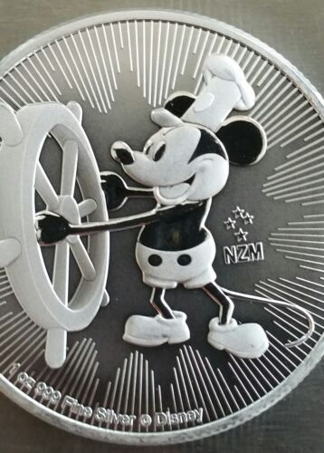 999 Silver Coin 2 dollar Niue 2017 Disney Mickey Mouse  Steamboat Willie 1 oz