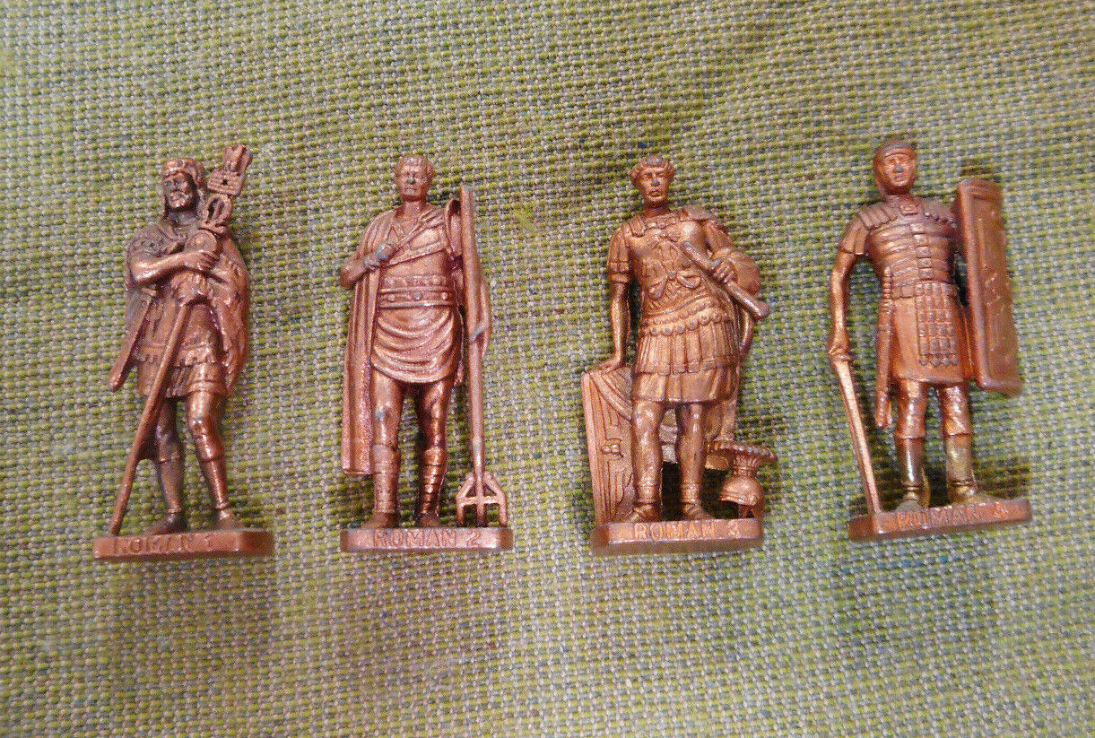 OO.   1.  SET(4)  1992  ROMAN  KINDER SURPRISE  METAL FIGURES - COPPER FINISH