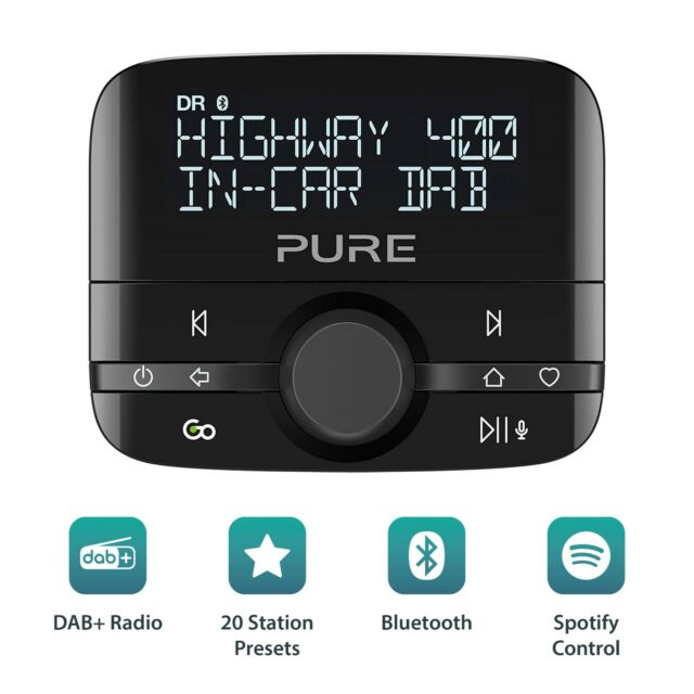 Bluetooth Music Spotify Control Personal Assistant FM to Digital DAB+ Audio Easy Fit Adaptor Pure Highway 400 In Car DAB Radio Adapter