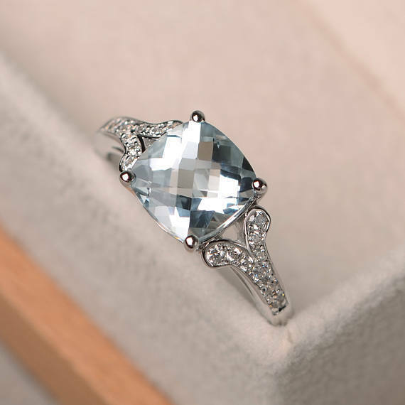 2.95 Ct Cushion Real Aquamarine Diamond Engagement Ring 14K White gold Size 6.5