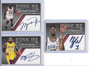 Michael-Jordan-Lebron-James-Zion-Williamson-Iconic-Ink-Facsimile-Auto-Cards