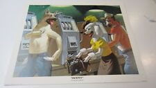 """1980, """"Jackpot"""" by Arthur Sarnoff Print, Dogs Playing Slots, 20 in. x 16 in."""