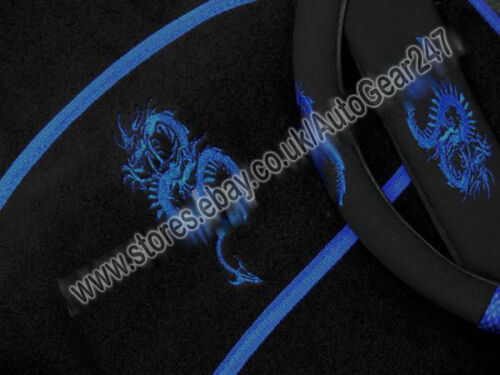 Pads Blue Black Dragon Logo Car Steering Seat Covers Package with Mats FREE
