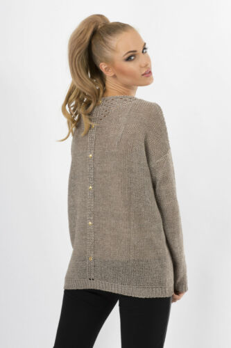 Lovely Women/'s Jumper Cardigan Scoop Neck Tunic Sweater Size 8-12 FAS03