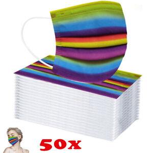 50x Erwachsene Regenbogen Motiv 3-lagig Atemschutzmaske Gesichtsvisier Mundmaske