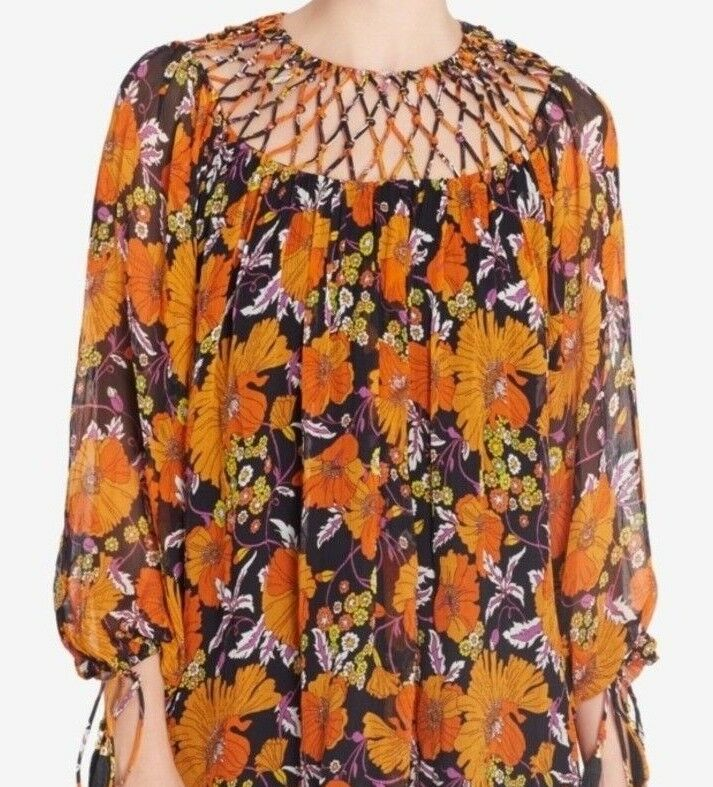268 NWT CATHERINE MALANDRINO SzS MOONEY LATTICE-TRIM LATTICE-TRIM LATTICE-TRIM PEASANT TOP PRINT MULTI feb7d2