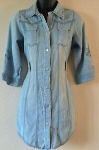 Internacionale-UK-Groesse-10-Damen-schoene-Casual-Denim-Look-Shirt-Kleid