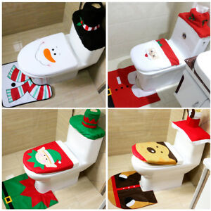 3Pcs Happy Santa Toilet Seat Cover Rug Christmas Bathroom Set Home ...