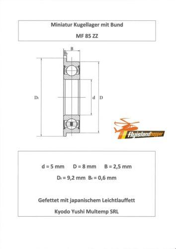10x Bund Kugellager MF 85 ZZ 5x8x2,5 mm Flange Bearing Flansch Kugellager