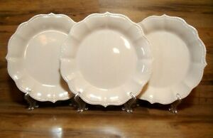 """SET OF 3 - THE PIONEER WOMAN - PAIGE LINEN WHITE - 10 1/2"""" DINNER PLATES - EUC"""