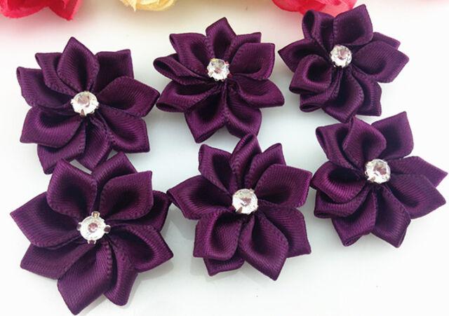 DIY 10-100PCS Satin Ribbon Flower with Crystal Bead Appliques~Craft/Trim
