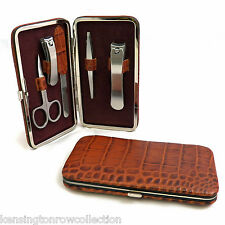 MENS GIFTS - 5-PC MANICURE SET IN BROWN CROCO LEATHER CASE - MENS GROOMING KIT