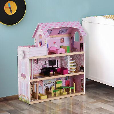 Kinder Puppenhaus Puppenstube Barbiehaus Dollhouse 3 Etagen mit Möbeln