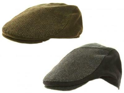 Candido Mens Ladies Unisex Herringbone Pattern Panel Wool Flat Cap Hat 2 Colours 3 Sizes