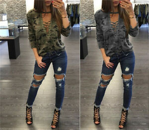 New-Ladies-Women-Bandage-Camouflage-Long-Sleeve-Shirt-Casual-Blouse-Tops-T-Shirt