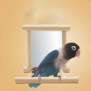 Bird-Mirror-amp-Perch-Wooden-Interactive-Bird-Toys-Budgie-Canary-Cockatiel-Finch