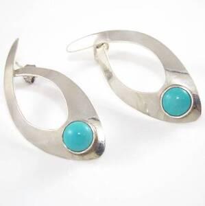 Acheter Pas Cher Argent Sterling Southwestern Synthétique Bleu Turquoise Boucles D'oreilles-afficher Le Titre D'origine Qualité Et Quantité AssuréE
