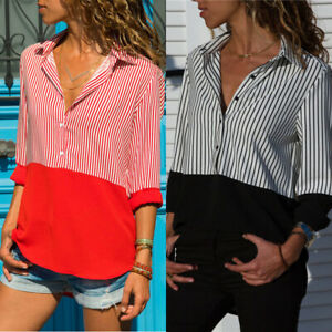 Women-039-s-Long-Sleeve-T-Shirt-Ladies-Loose-Formal-OL-Tops-Blouse-Shirt-Fashion