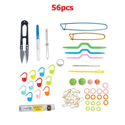 Tejido De Hilo Tejido Crochet Gancho 56pc Aguja Tejer Clip marcador conjunto de herramientas con estuche