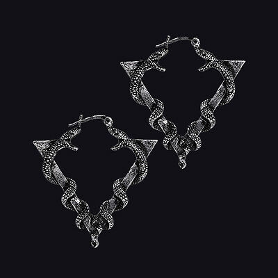 RESTYLE SERPENTINE ANTIQUE SILVER STYLE EARRINGS. DELTA SYMBOL. SERPENTS. SNAKES