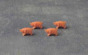 4 Cochons Jouet, Poupées Miniatures Maison, Animaux, Piggies Longueur - 15mm, Hauteur - 8mm-afficher Le Titre D'origine