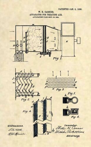 Antique HVAC 348 Official FIRST Carrier Air Conditioner US Patent Art Print