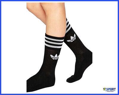 Allombra Donazione Ananiver  3 Calzini ADIDAS ORIGINALS da Uomo Donna Calze Sportive Lunghe Sport Neri  38 42 | eBay