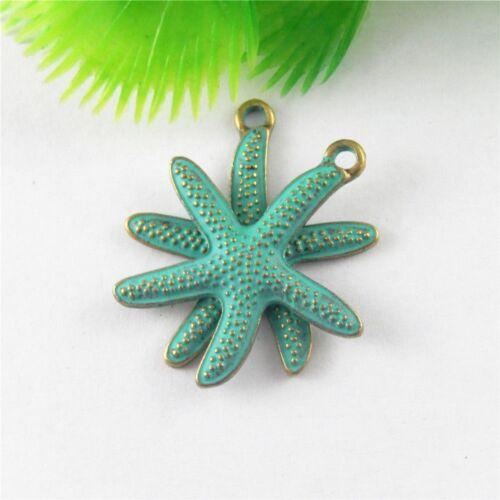10pcs Vintage Bronze Patina Color Starfish Shaped Alloy Pendants Charms Crafts