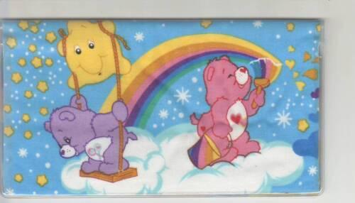 CARE BEAR CHECKBOOK COVER FABRIC  CAREBEARS  RAINBOW BEAR HEART BEAR RAINBOW