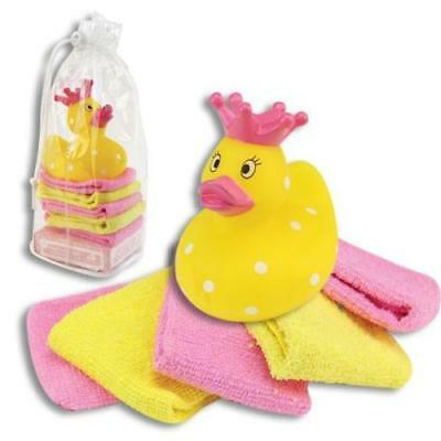 Baby Nice Rubber Duck Princess Crown & Baby Wash Cloths Baby Girl Bath Gift Set Nip