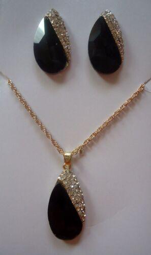 Chic Rhinestone Faux Crystal Leaf Shape Necklace Earrings Set in Season Colors