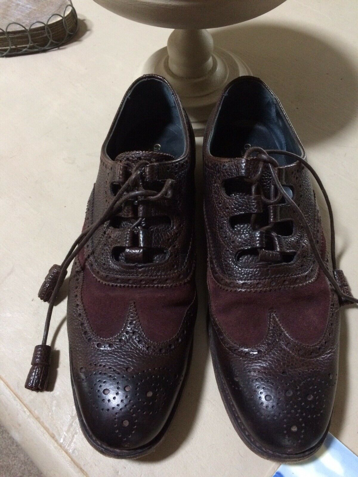GIEVES & HAWKES Leather Brogues Chocolate Brown UK 8