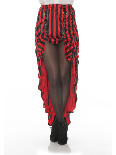 Women/'s Red and Black Striped Steampunk Costume Skirt