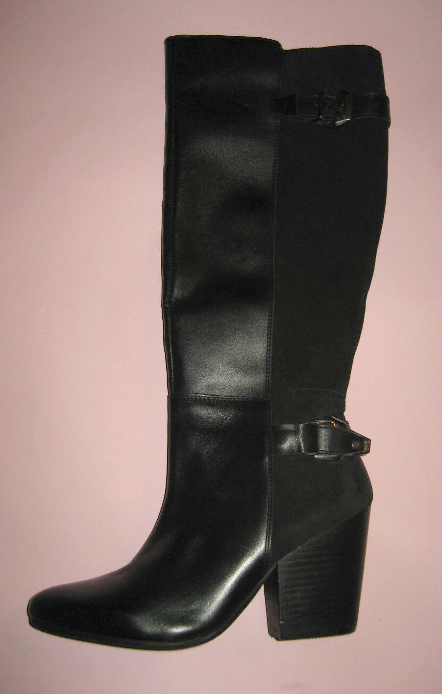 Cole Haan Black Bast Riding Boots Size 8 NIB Leather Suede Round Toe Knee High