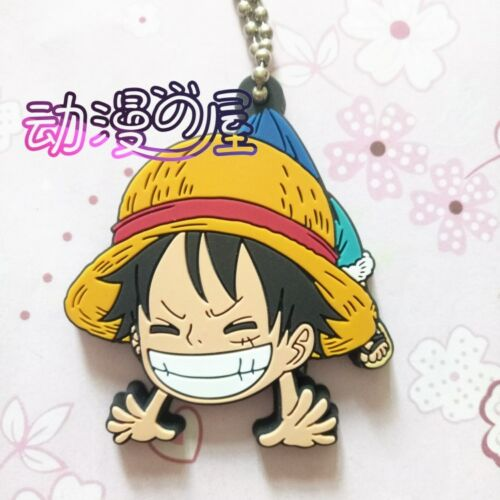 ONE PIECE Luffy Zoro Law Keychain Anime Figure Rubber Strap Charm Key Ring Gift