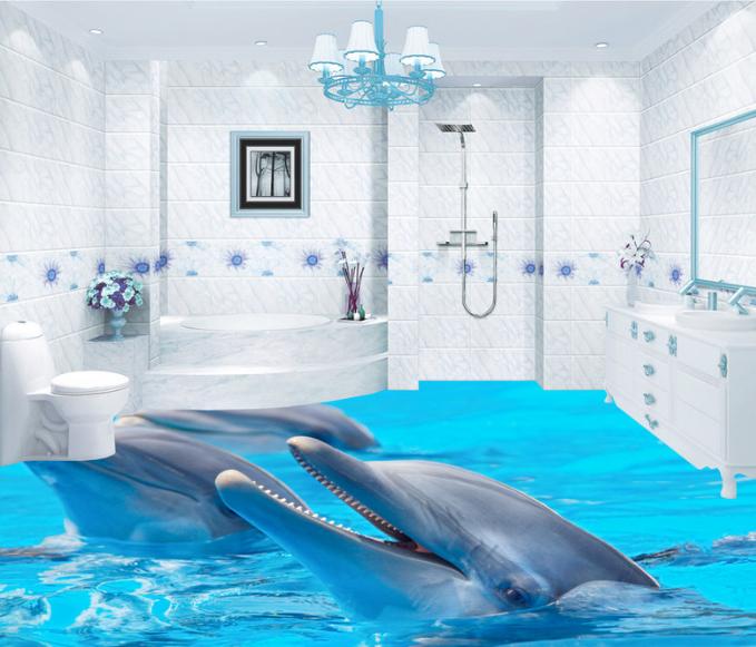 3D Cute Dolphin 7 Floor WallPaper Murals Wall Print Decal AJ WALLPAPER US Summer