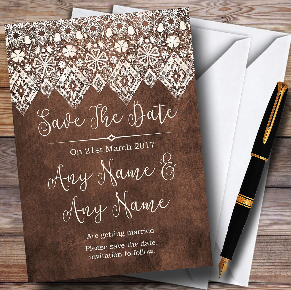 Vintage braun Old Paper & Vintage Lace Personalised Wedding Save The Date Cards