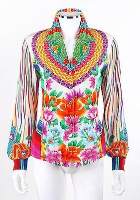 4cea716ce9b3 ESCADA Margaretha Ley White Multicolor Floral Print Silk Blouse Shirt 34