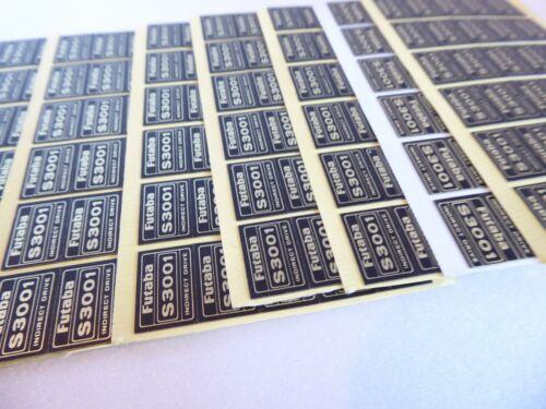 1 X Futaba 3001 Servo étiquettes Feuille De Rechange Décalque//Autocollant 30 pcs par feuille