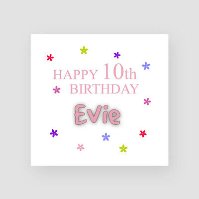 GIRL Balloons PERSONALISED 10th Birthday Card Tenth Birthday Card Age 10
