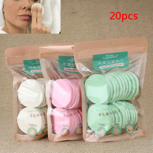 20Pcs Soft Cleansing Sponge Natural Face Wash Puff Facial Cleaning Pad Tools  M