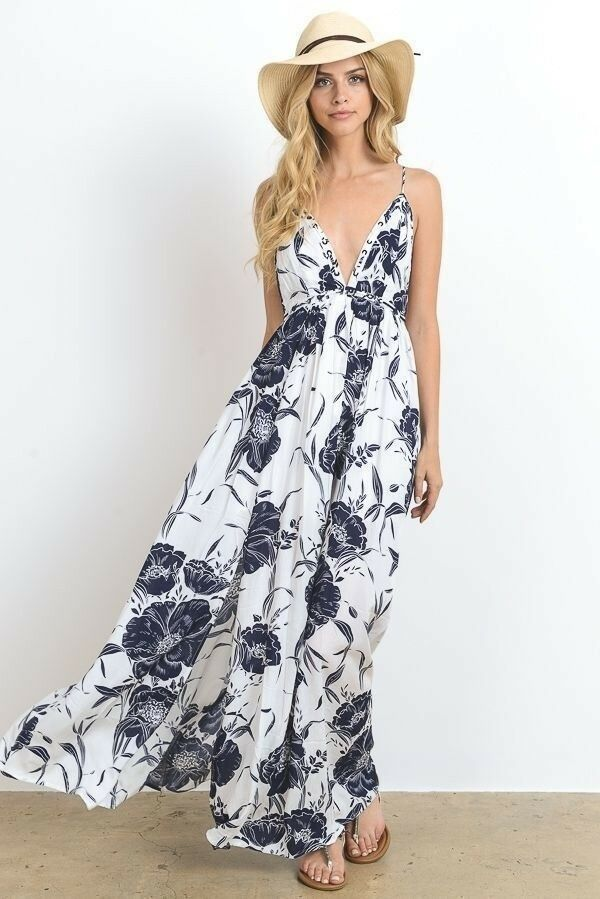 Boutique Vacation Vibes Plunge Maxi Dress in Print New Sexy Navy White M L