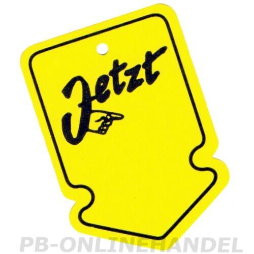 Kartonetiketten 40x60mm gelb JETZT Pfeilform Stückwarenanhänger Hängeetiketten