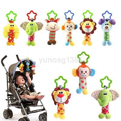 Infant Rattles Plush Animal Stroller Music Hanging Bell Toys Doll Baby Bed New