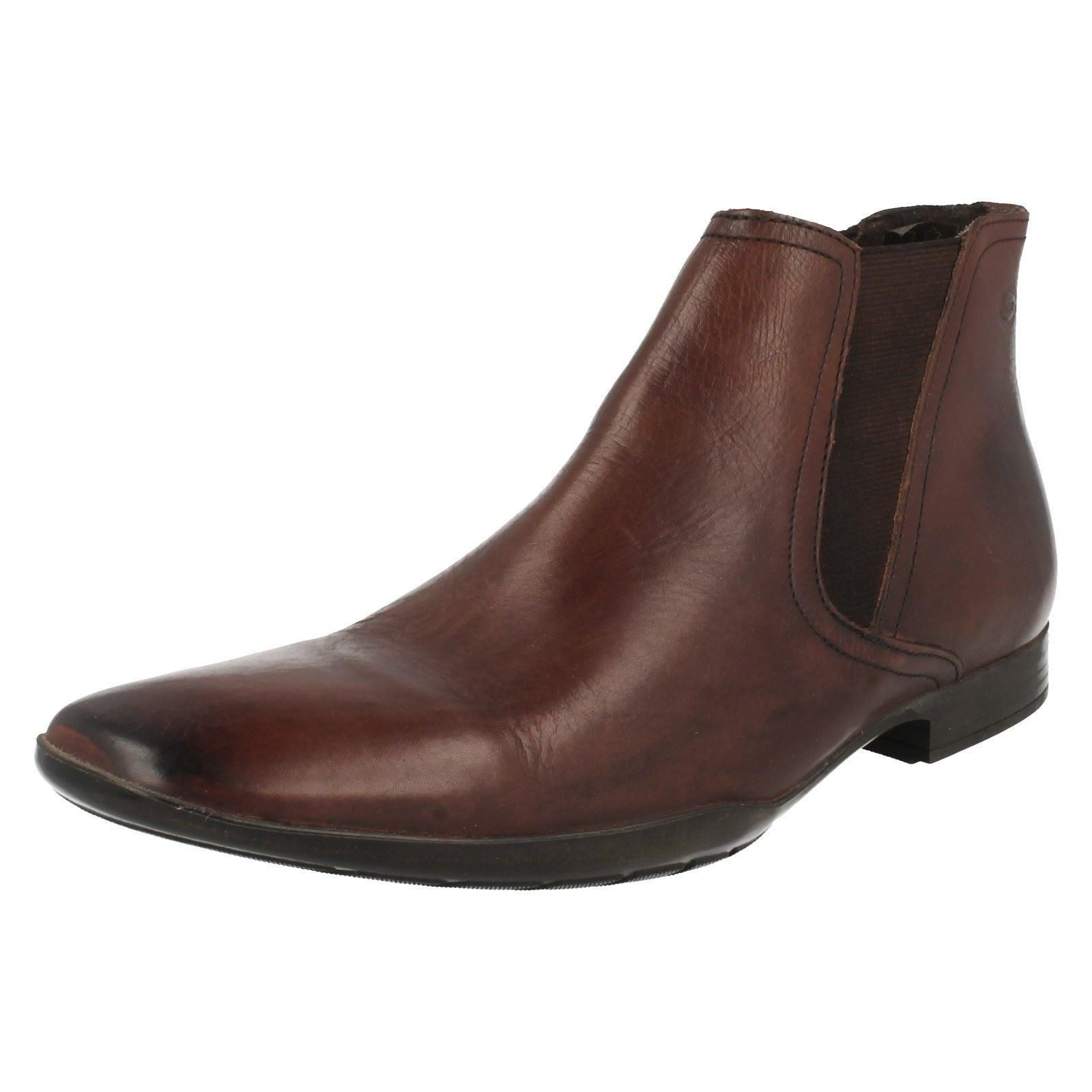 Base London Leo Mens Waxy Brown Leather Ankle Boots (R15B)