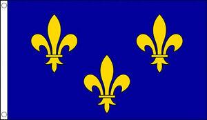 ILE-DE-FRANCE-FLAG-5-039-x-3-039-Blue-Fleur-De-Lis-French-Medieval-King-Fleurs-De-Lys