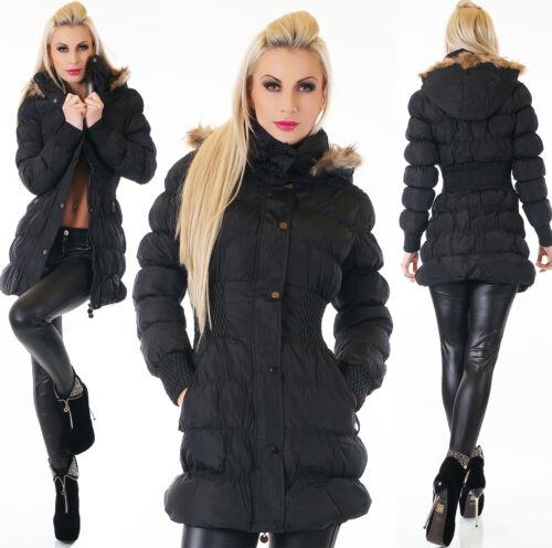 Mantel Lang Damen Winter Gefüttert Jacke Kapuze Tailliert Webpelz Fell Stepp 7BnRxw