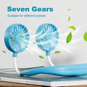 Lazy Neck Hanging Dual Mini Cooling Fan Sport Portable USB Rechargeable Fan Kit